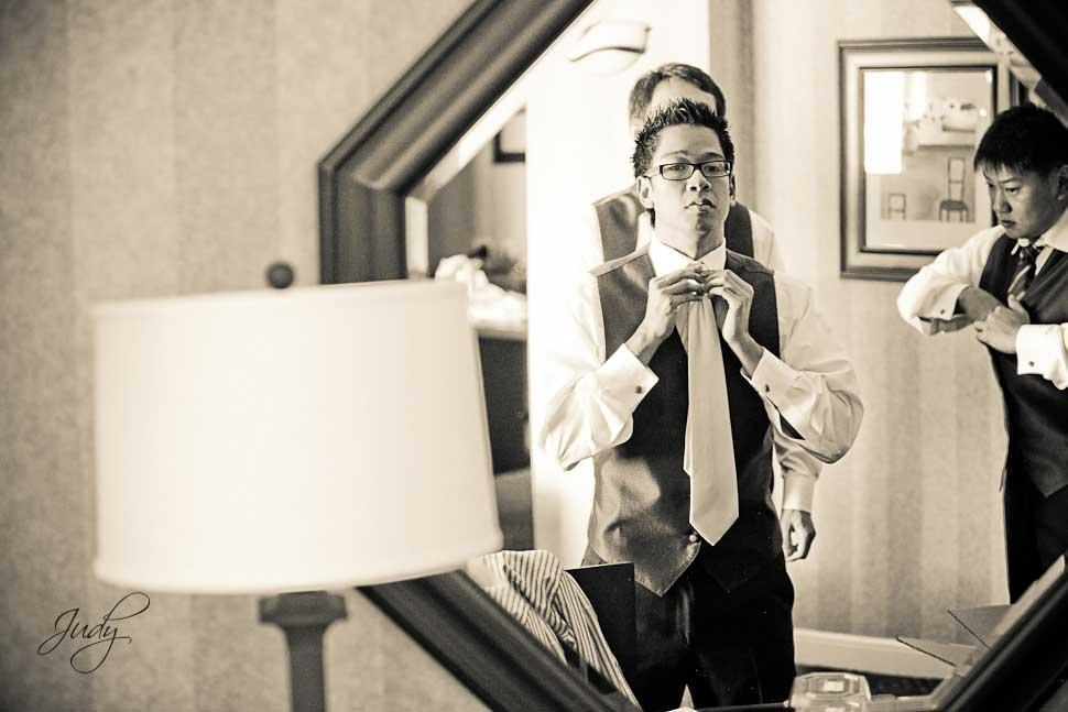 Huntington Hyatt Wedding Preparation Groom