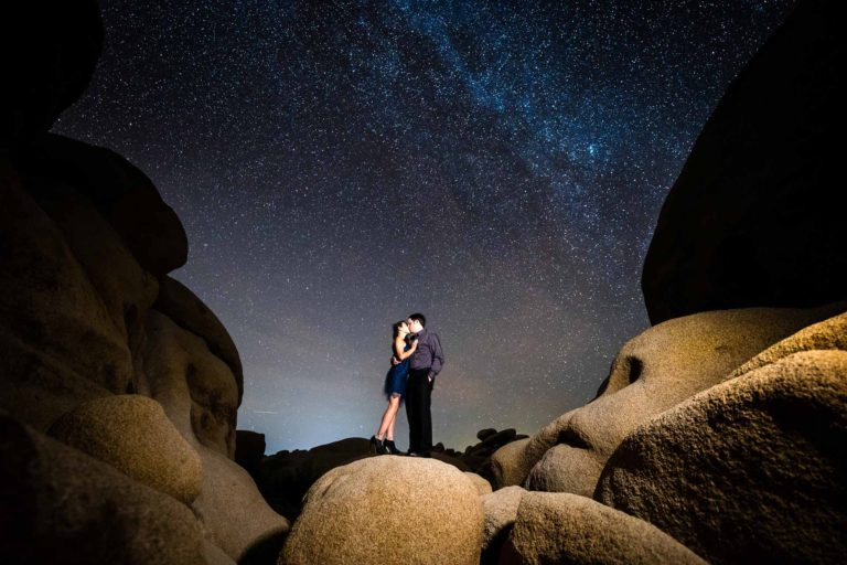Joshua Tree Engagement Photography with Milky Way