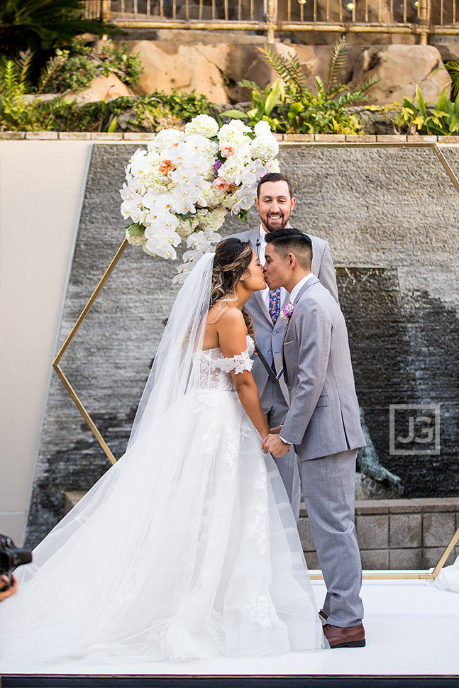 Seven Degrees Wedding Ceremony First Kiss