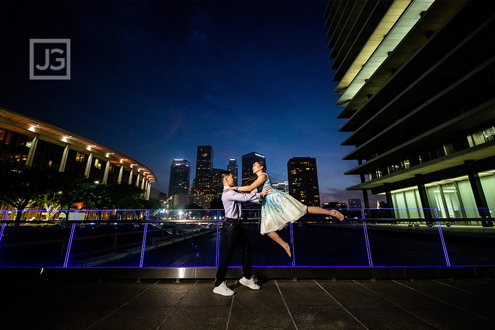 Downtown Los Angeles Engagement Photos Dancer