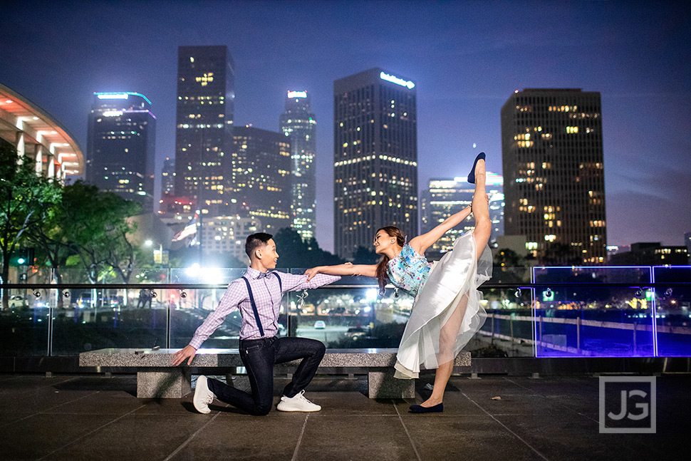 Downtown Los Angeles Engagement Photos Dancing
