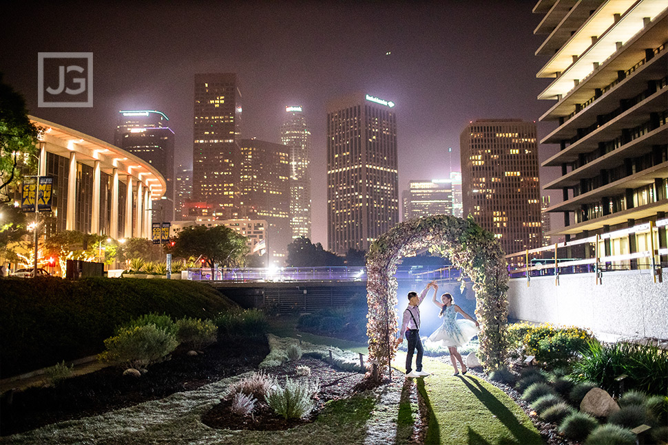 Dancing in Los Angeles at Night Engagement Photos