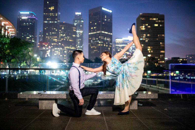 Downtown + LACMA Engagement Photos Los Angeles | Josyne + Daniel
