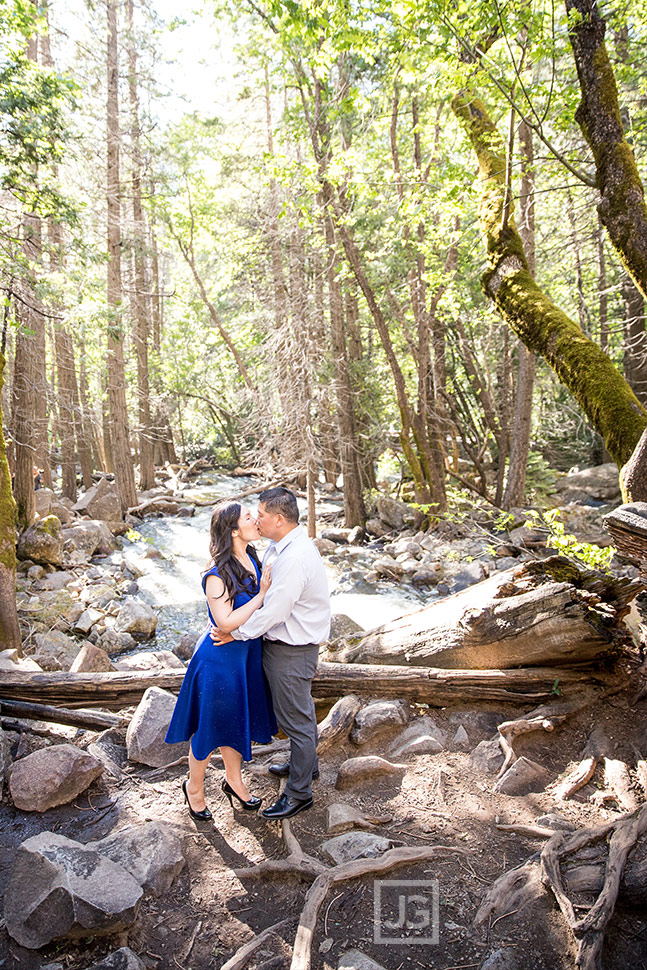Yosemite engagement photography with a river