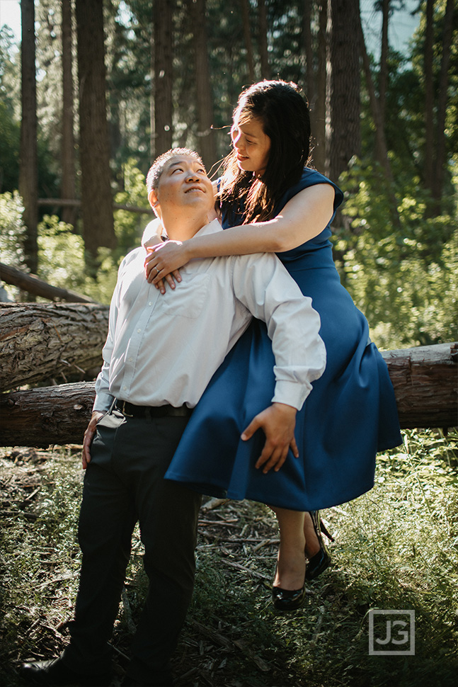 Yosemite engagement photography with Trees