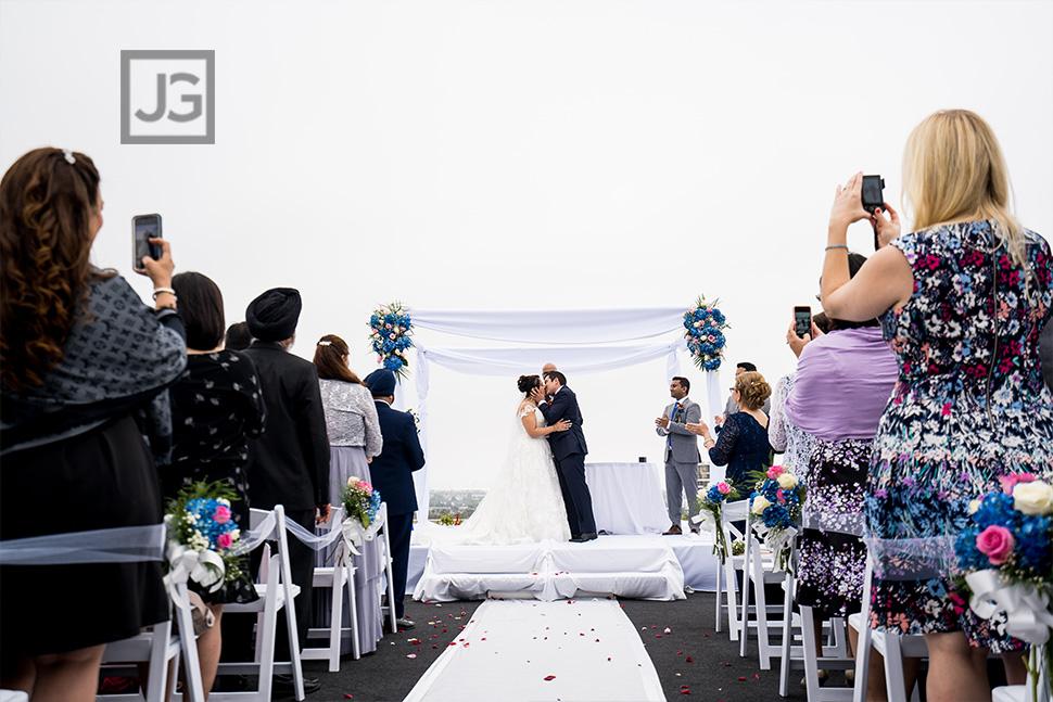 Marina Del Rey Mariott Wedding Ceremony First Kiss