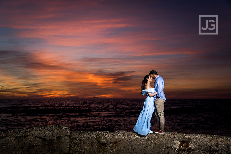 Colorful Sunset Engagement Photo