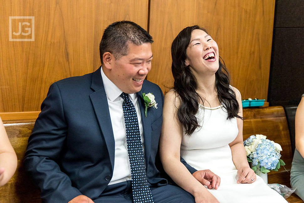 Laughing before the Wedding Ceremony