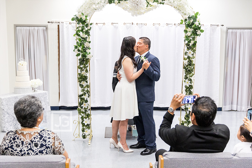 Beverly Hills Courthouse Wedding First Kiss