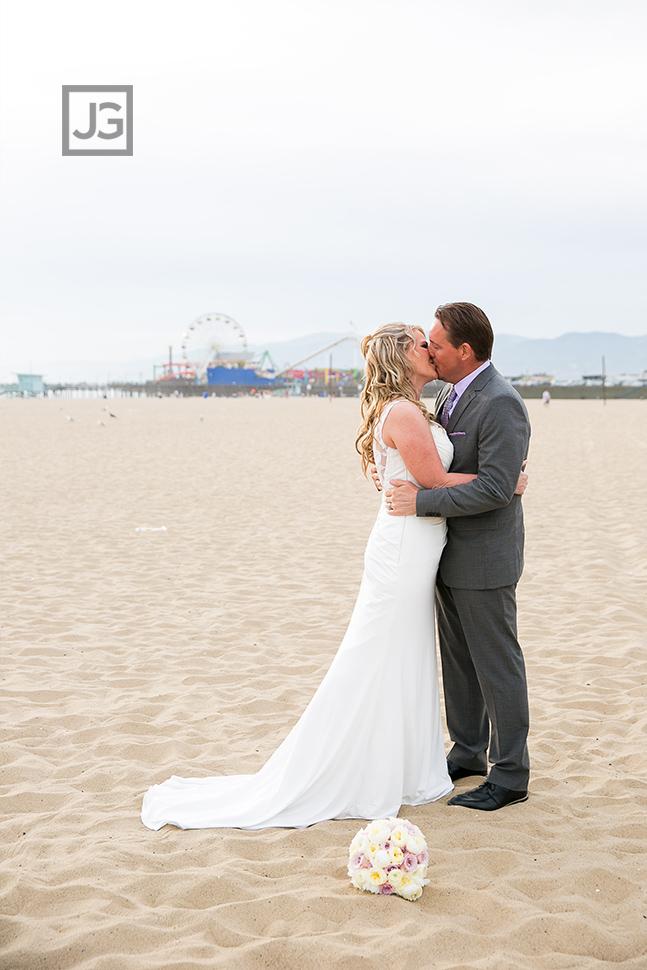 Santa Monica Beach Elopement Wedding Ceremony First Kiss