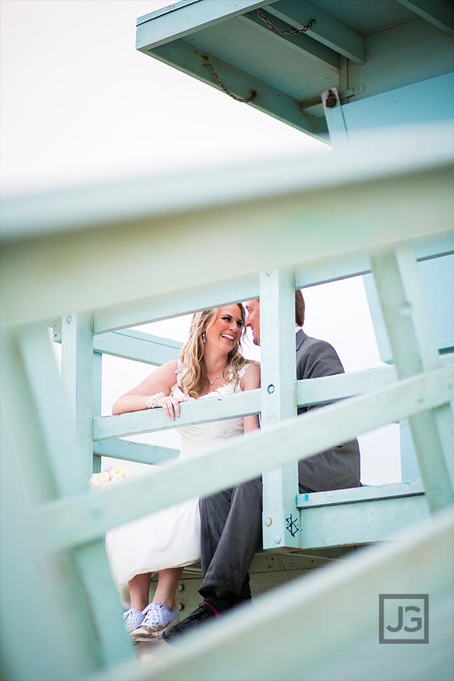 Santa Monica Lifeguard Tower Elopement Wedding Photo