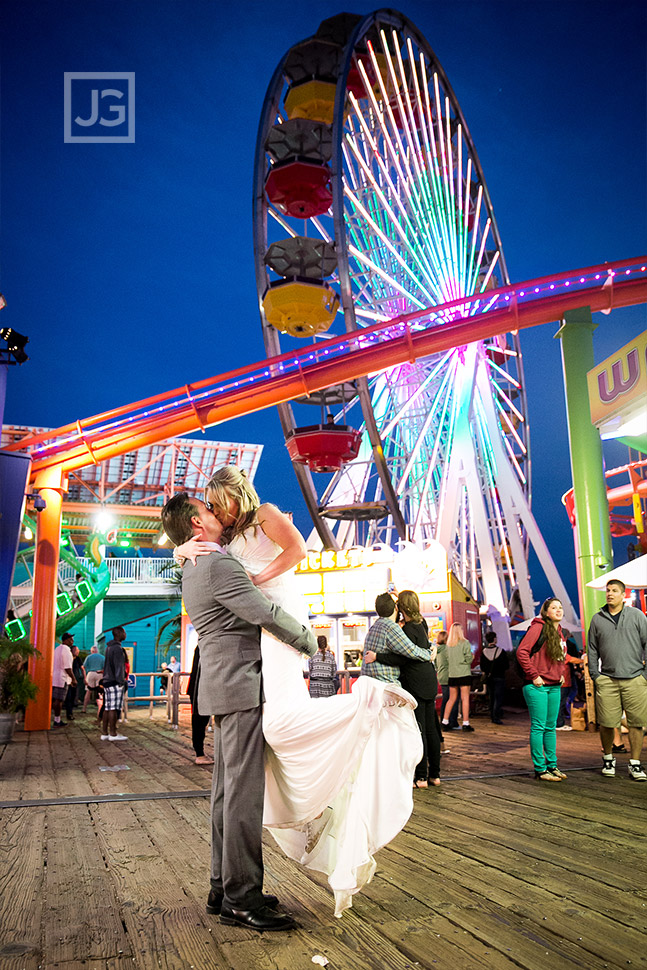Santa Monica Pier Ferris Wheel Elopement Wedding