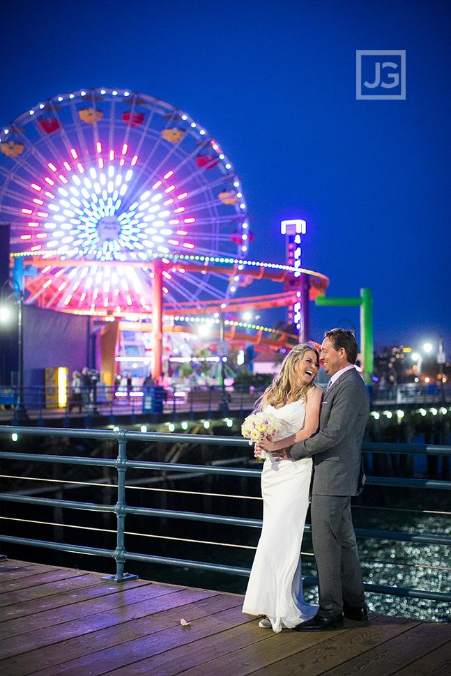 Santa Monica Pier Ferris Wheel at Night Elopement Wedding Photo