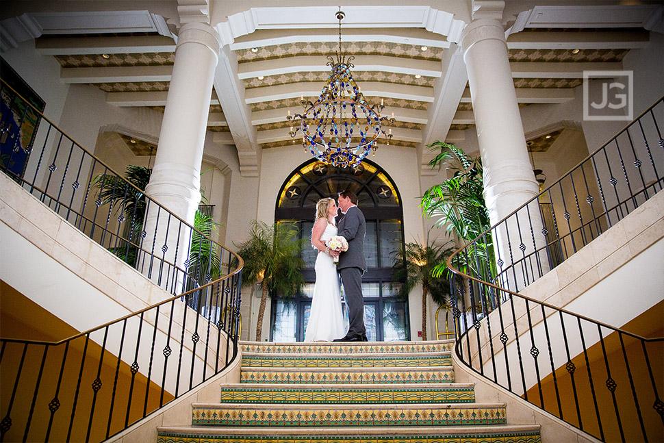 Casa Del Mar Lobby Staircase Elopement Wedding Photo