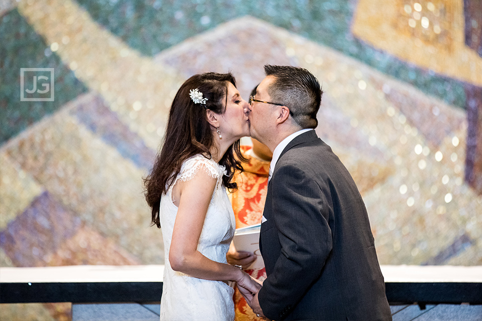 St. John Neumann Catholic Church Wedding First Kiss