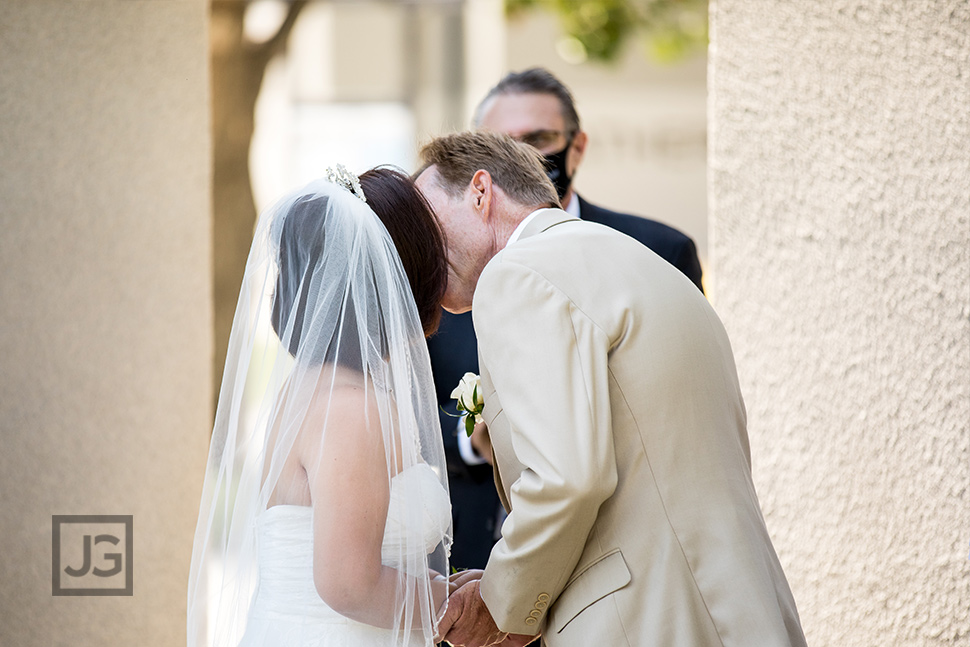 Intimate Wedding Ceremony Glendora First Kiss