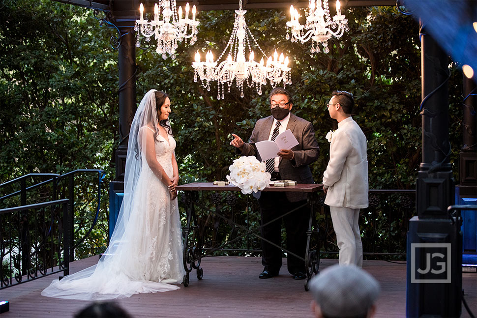 Padua Hills Theatre Wedding Ceremony with Chandeliers