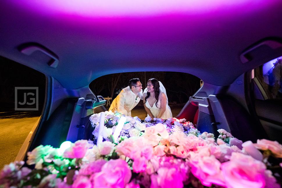 Micro Wedding Photos with Flowers and Light Sticks