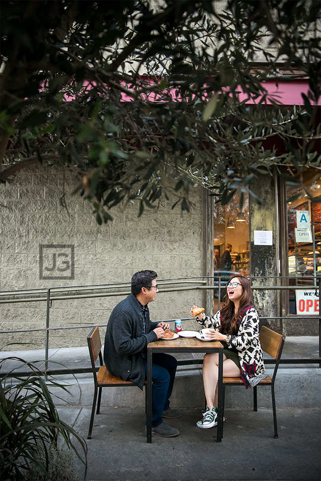 Downtown Los Angeles Engagement Photography Getting Coffee