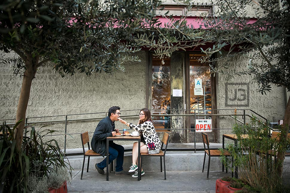 Downtown Los Angeles Engagement Photography Cafe