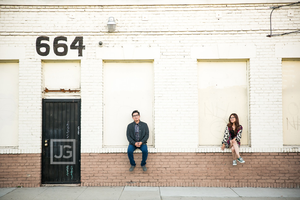Engagement Photos on a Street in Los Angeles