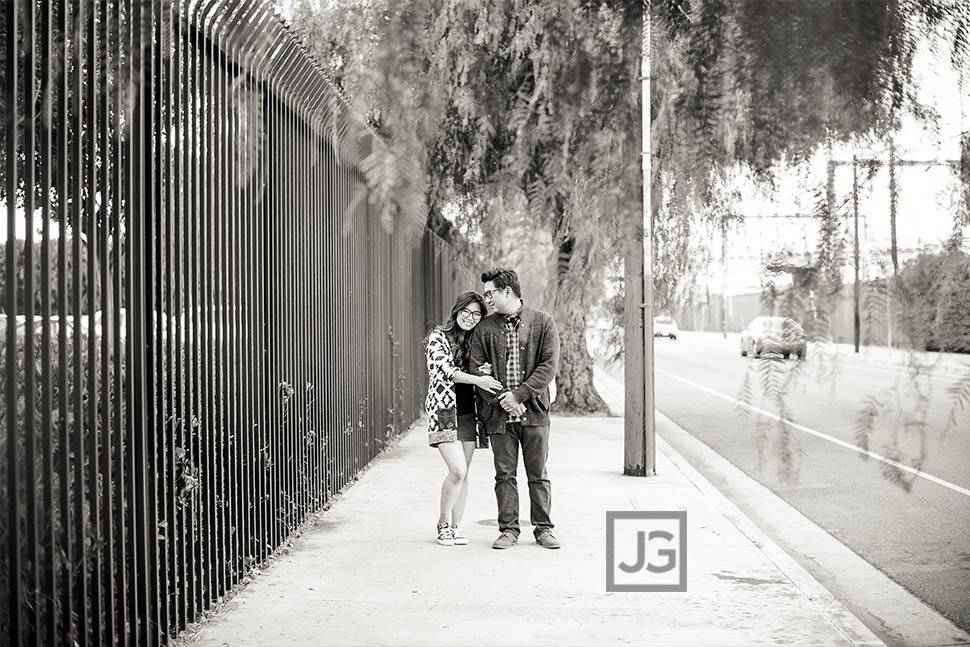 Engagement Photography on a Street in Los Angeles