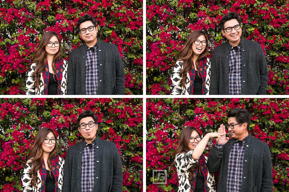 Silly Engagement Photos with Red Flowers