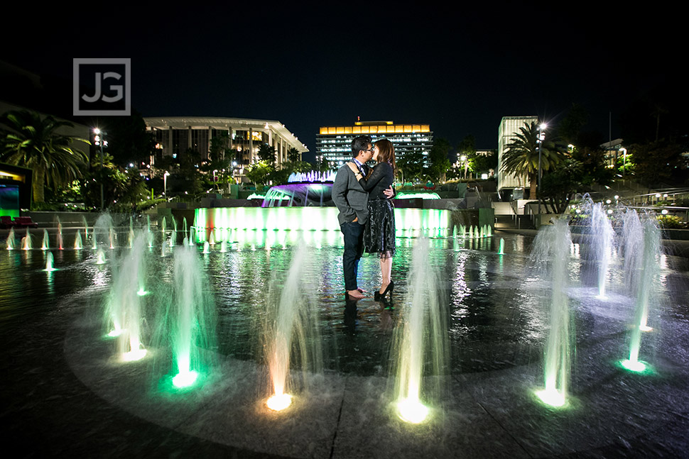 Grand Park Engagement Photos Water Fountain