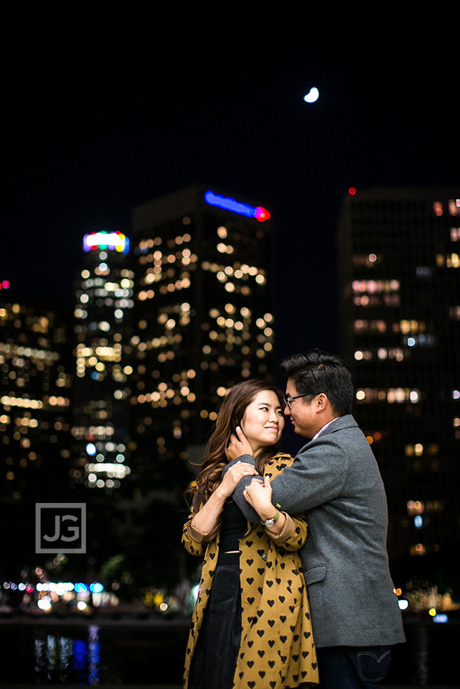 Los Angeles Engagement Photos Skyline at Night