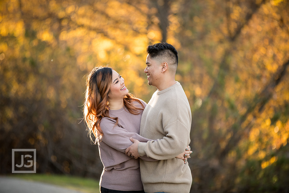 Park Trail Engagement Photography with Yellow Leaves