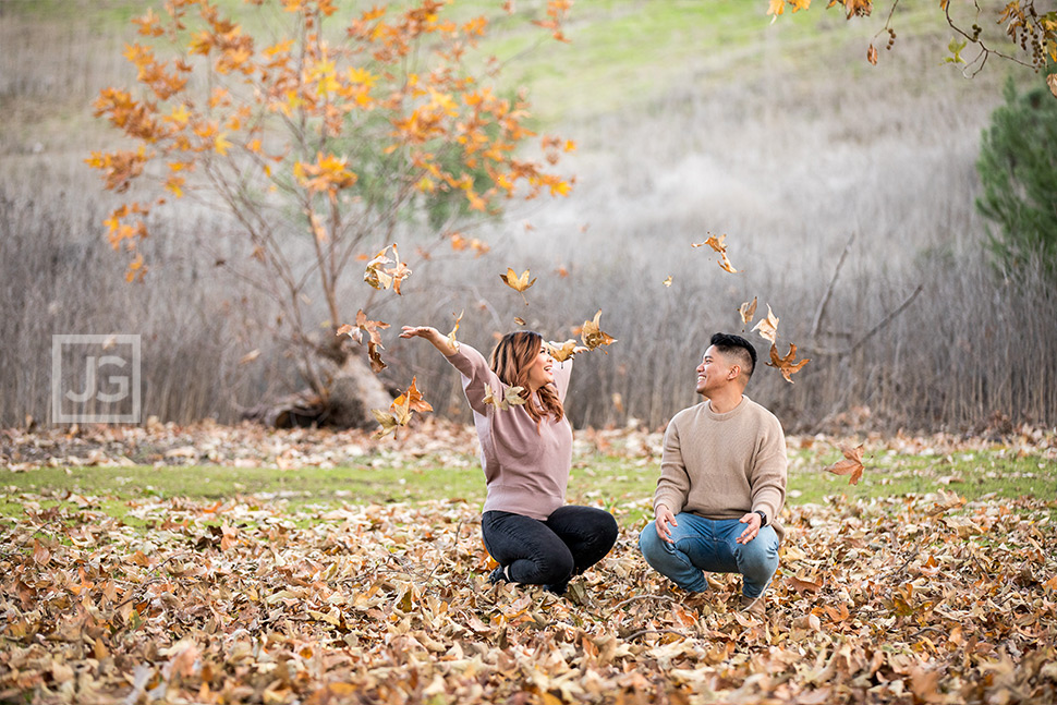 Engagement Photos with Fall Leaves