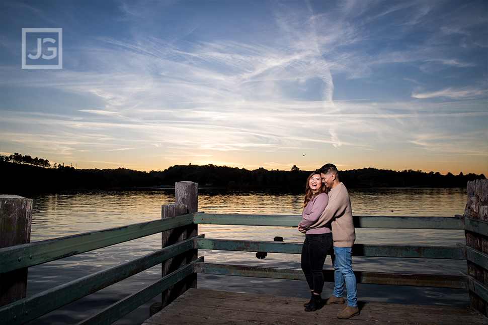 Engagement Photography on a Lake Pier in Los Angeles County