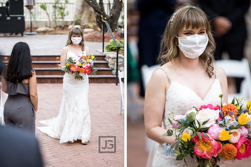 Bride with Mask during Wedding Ceremony