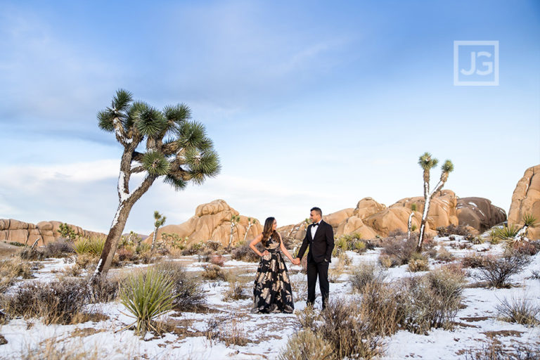 Snow in Joshua Tree! Astrophotography Engagement Photos