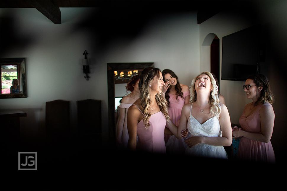 Bride Laughing during Wedding Preparation