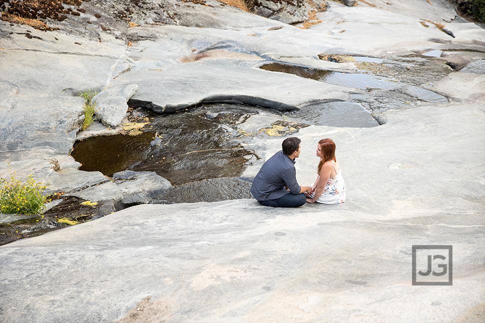 Stream on Rocks Engagement Photos