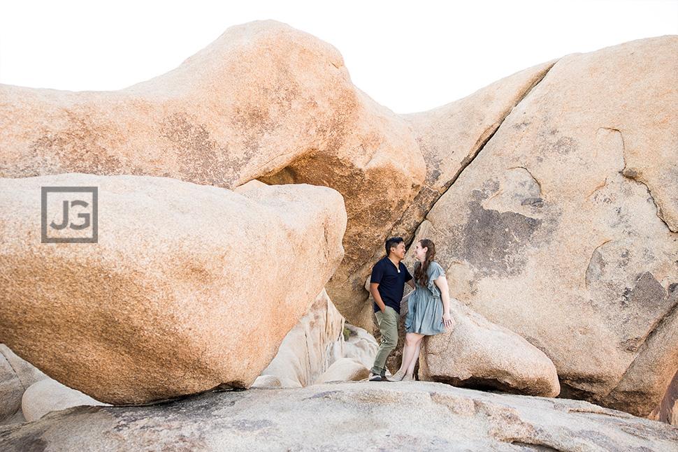 Joshua Tree Rocks Engagement Photography