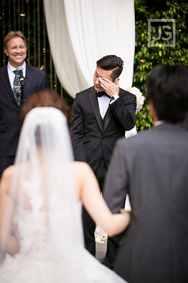Four Seasons wedding Groom Crying