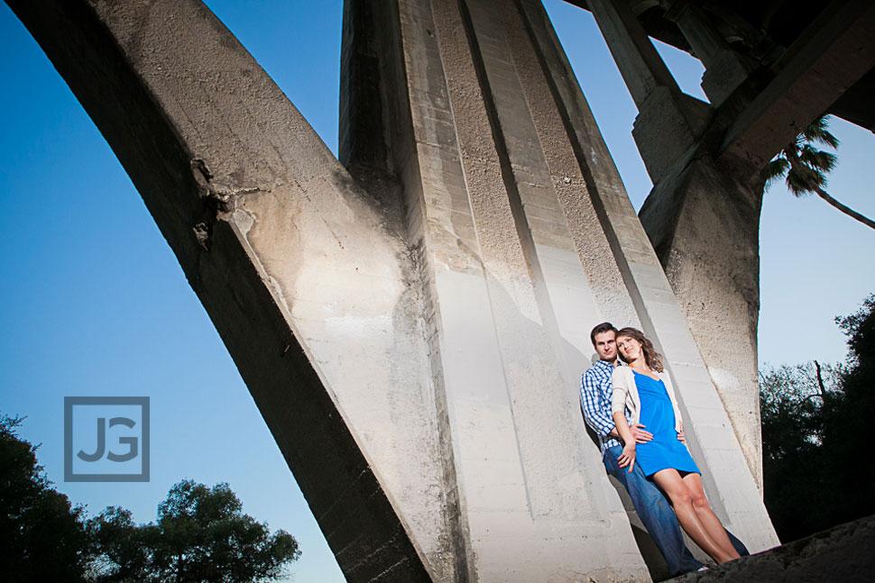 Pasadena Engagement Photos under a Bridge