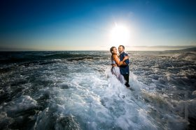 Laguna Beach Engagement Photo with wave