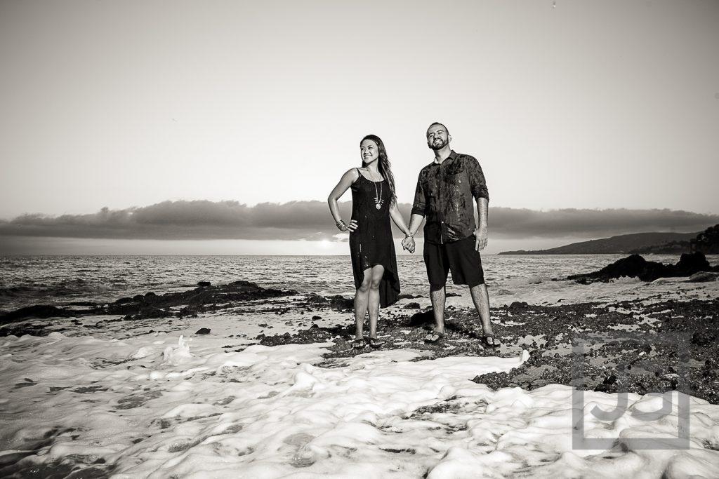 Laguna Beach Engagement Photo with wave
