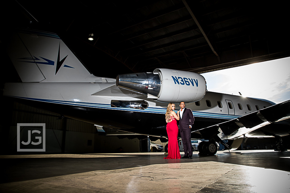 Santa Monica Airport Engagement Photo