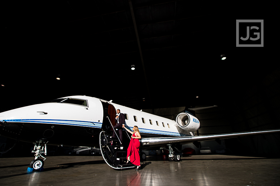 Boarding the private jet