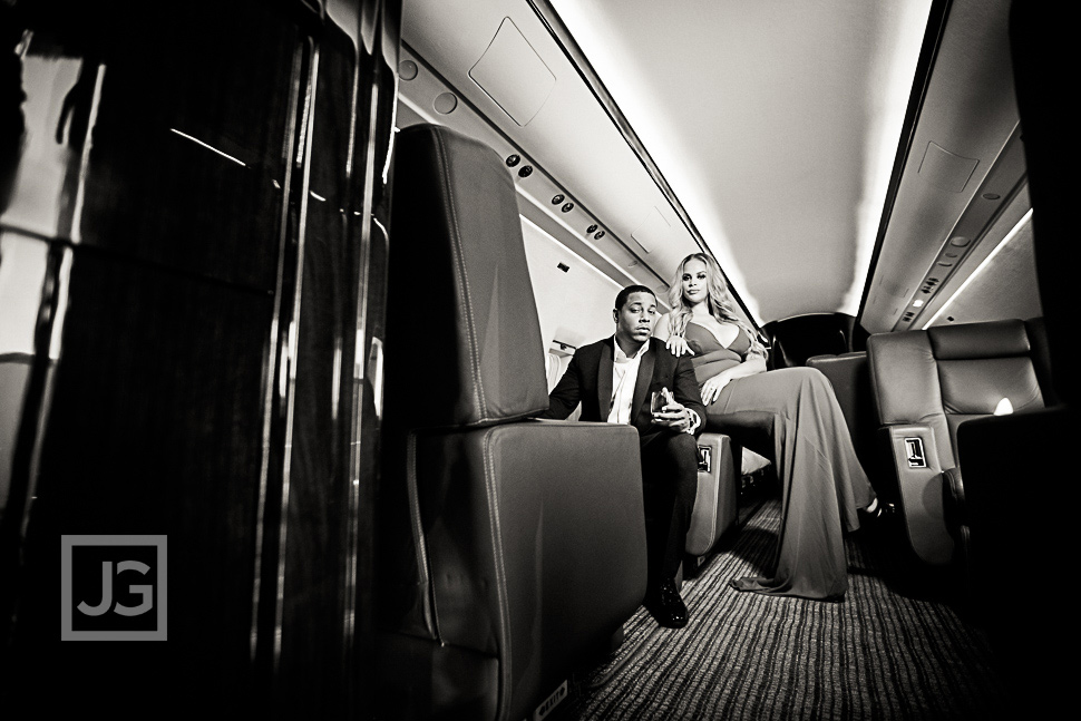 Private jet engagement photo