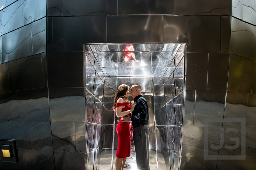 Walt Disney Concert Hall Engagement Photography Red Dress