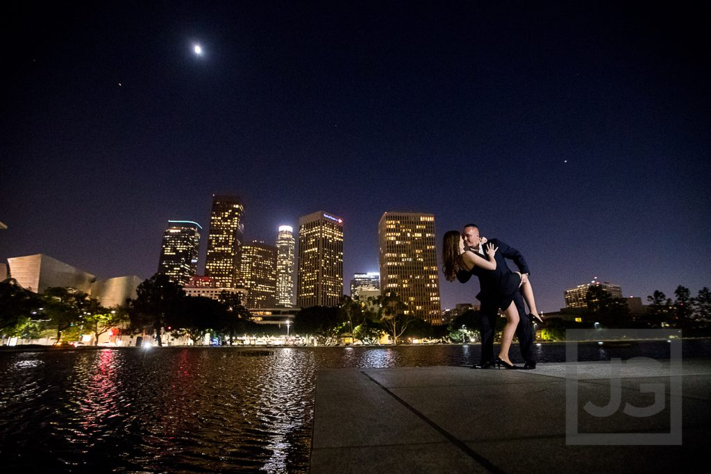 Downtown LA Skyline Engagement Photography