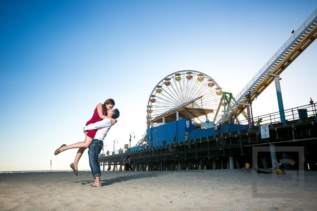 Santa Monica beach and pier, ferris wheel