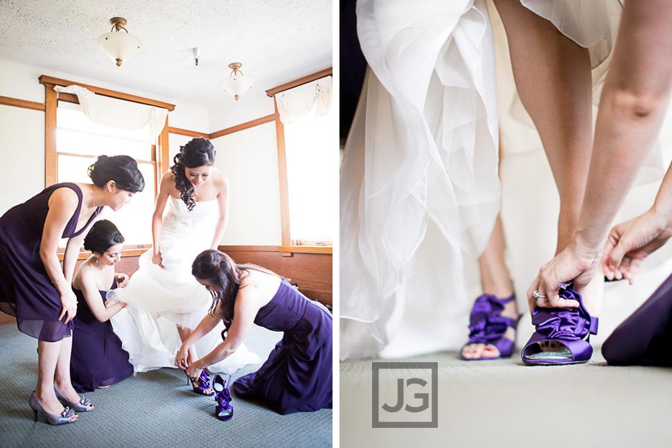 Purple Shoes Wedding Preparation Pasadena