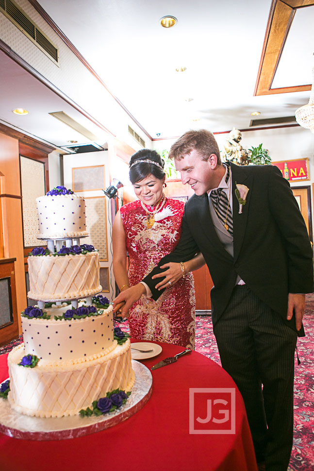 Chinatown Wedding Reception Cake Cutting