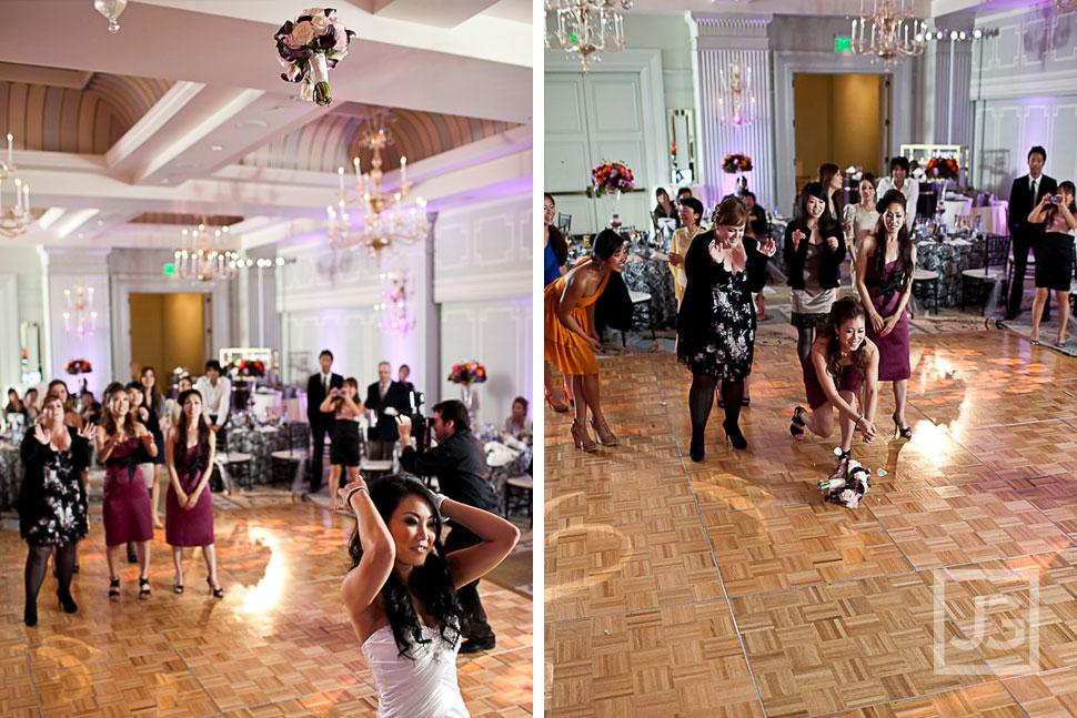 Casa del Mar Wedding Reception Bouquet Toss
